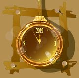 Gold watch on an unusual decorative background. vector illustration