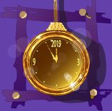 Gold watch on an unusual decorative background. royalty free illustration