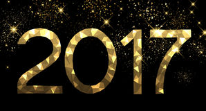 2017 New Year golden background. 2017 New Year black and golden background. Vector illustration Stock Photos