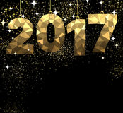 2017 New Year golden background. 2017 New Year black and golden background. Vector illustration Royalty Free Stock Photos