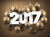 2017 New Year golden background. 2017 New Year golden background with Christmas balls. Vector illustration Stock Images