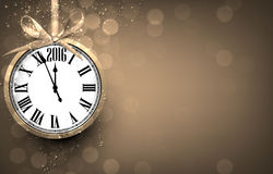 2016 New year golden background with vintage clock. Vector illustration with place for text royalty free illustration
