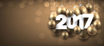 2017 New Year golden banner. 2017 New Year golden banner with Christmas balls. Vector illustration Stock Images