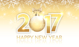 New Year 2017 golden  banner with hanging bauble. New Year 2017 golden banner. Vector illustration with hanging bauble and snowflakes Stock Images