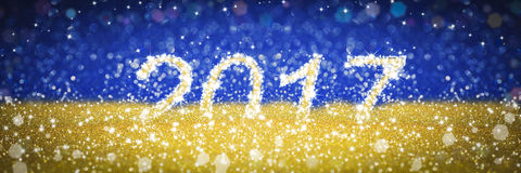 New year 2017 golden and blue background. New year stars blue background 2017 Stock Photos