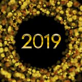 New Year 2019 golden bokeh particles background vector illustration