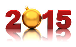 New year 2015 with golden christmas ball. On white vector illustration