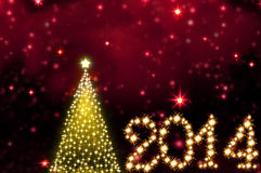 New Year 2014. Golden Christmas tree and starry background. Winter background.New year 2014 royalty free illustration