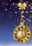 New Year golden clock. Vector illustration Stock Photos