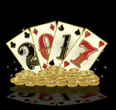 New 2017 year with golden coins and poker cards Royalty Free Stock Images
