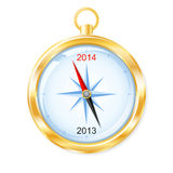 New Year 2014 golden compass. Golden compass points to New Year 2014. Vector illustration Stock Photo