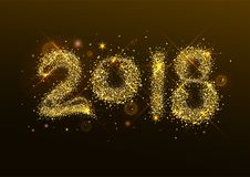 2018 new year golden confetti salute number Royalty Free Stock Image