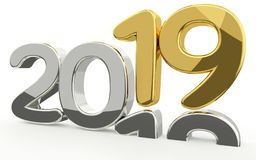 New year 2019 and 2018 golden 3d. Render Royalty Free Stock Image