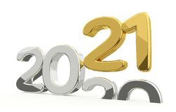 New year 2021 and 2020 golden 3d. Render Stock Image