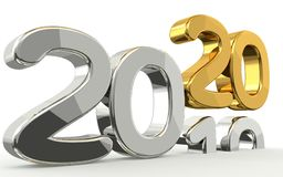 New year 2020 and 2019 golden 3d. Render Stock Photo