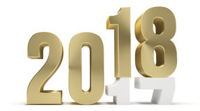 New year 2018 and 2017 golden 3d. Render Royalty Free Stock Images