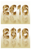 New 2016 year golden euro dollar, vector Stock Photography