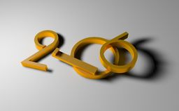 New year 2016 in golden figures Stock Photography