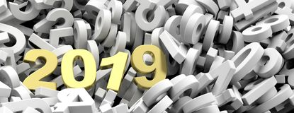 2019 New year. Golden 2019  figures on white numbers background, banner. 3d illustration. 2019 New year. Golden 2019  figures on white numbers heap background Stock Photos