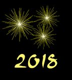 New Year 2018 golden fireworks background. Vector illustration of new year 2018 golden fireworks on dark background. handwritten text Stock Photography