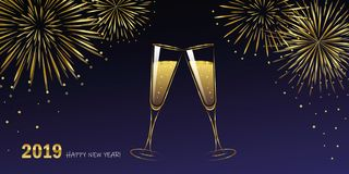 New Year golden fireworks and champagne glasses blue night sky. Vector illustration EPS10 stock illustration