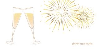 New Year golden fireworks and champagne glasses on a white background. Vector illustration EPS10 royalty free illustration