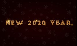 New 2020 year. Golden glitter greeting card. Luxurious design element, vector illustration Stock Photos