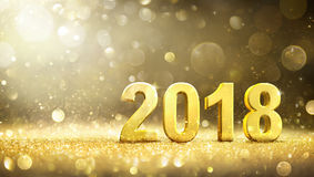 2018 - New Year - Golden Greeting Card Royalty Free Stock Photo