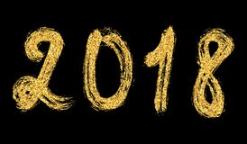 2018 New Year. Golden lettering with bright sparkles on white ba. Ckground. Vector Royalty Free Stock Photo