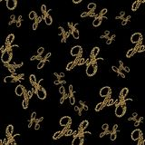 New 2018 year golden lettering number figures isolated on black seamless pattern background. 3D illustration.  Royalty Free Stock Photo