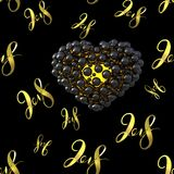 New 2018 year golden lettering number figures isolated on black seamless pattern background. 3D illustration.  Stock Image