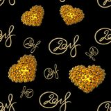 New 2018 year golden lettering number figures isolated on black seamless pattern background. 3D illustration.  Royalty Free Stock Photos