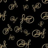 New 2018 year golden lettering number figures isolated on black seamless pattern background. 3D illustration.  Royalty Free Stock Photography