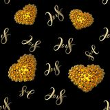 New 2018 year golden lettering number figures isolated on black seamless pattern background. 3D illustration.  Stock Photography