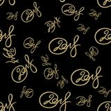 New 2018 year golden lettering number figures isolated on black seamless pattern background. 3D illustration.  Royalty Free Stock Image