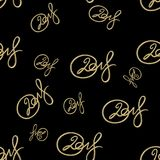 New 2018 year golden lettering number figures isolated on black seamless pattern background. 3D illustration.  Stock Photos