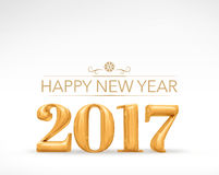 2017 new year golden number (3d rendering) on white studio room,. Holiday card,Leave space for adding text Stock Photography