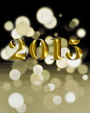 New year 2015. 2015 golden numbers on a black background with round Royalty Free Stock Image