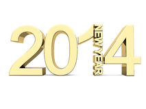 New Year 2014. Golden numbers 2014 on a white background vector illustration