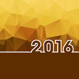 2016 New Year on golden polygonal background with copy-space. Sample Royalty Free Stock Photo