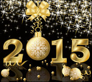 New 2015 Year golden postcard Royalty Free Stock Photos