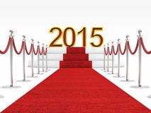 2015 new year. Golden 2015 and red carpet Royalty Free Stock Photo