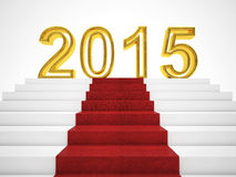 2015 new year. Golden 2015 and red carpet Stock Photo