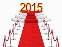 2015 new year. Golden 2015 and red carpet Royalty Free Stock Photography