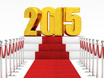 2015 new year. Golden 2015 and red carpet Stock Images