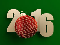 New year 2016. Golden 2016 text on green background with red christmas ball. 3d rendered illustration Royalty Free Stock Photography