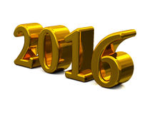 New Year 2016 Golden Text Isolated On White Royalty Free Stock Photography