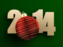 2014 new year. Golden 2014 text with red christmas ball on green background. 3d image Royalty Free Stock Photos