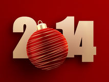 2014 new year. Golden 2014 text with red christmas ball on red background. 3d image Royalty Free Stock Photo