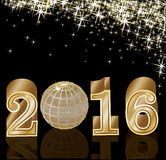 New year golden 2016 vector Stock Photos